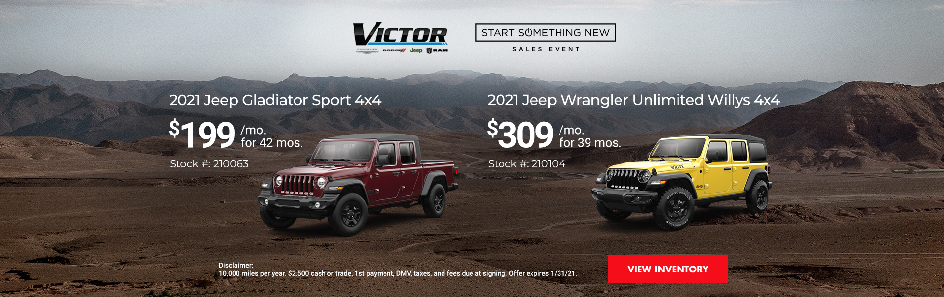 2021 Jeep Gladiator Sport and 2021 Jeep Wrangler Unlimited Willys
